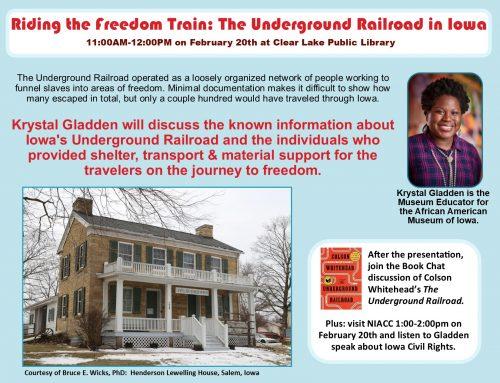 Underground Railroad in Iowa Feb. 20th, 11AM