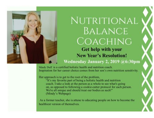 Nutritional Balance Coaching with Nutrition Coach Mindy Duff, Jan 2 @6:30pm
