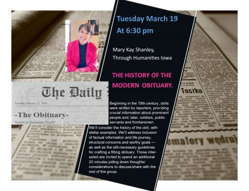 Modern Obituary – Tues Mar 19 6:30pm