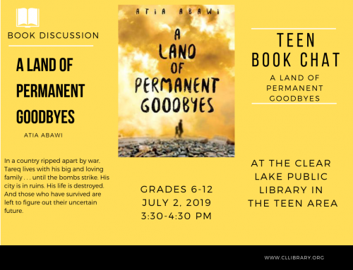 Teen Book Chat Tuesday July 2nd 3:30pm