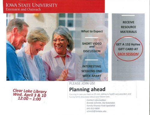 ISU Extension: Planning Ahead – Wed April 3 & 10  12:00 pm